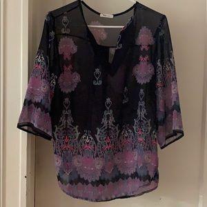 Dark navy with design blouse